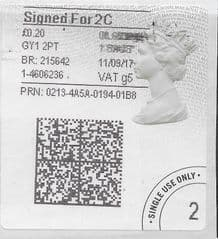 2017 SIGNED FOR 2C ( G 5) TYPE 4b HORIZON LABEL ( 2D BARCODED)
