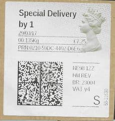 2017 'SPECIAL DELIVERY BY 1' (Y4)(MA16) TYPE 5 LABEL