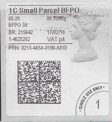 2018 1C SMALL PARCEL BFPO ( P 4) TYPE 4b HORIZON LABEL ( 2D BARCODED)