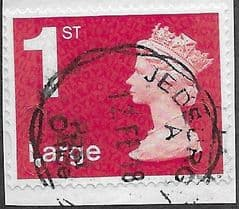 2018 1ST LARGE  'BRIGHT SCARLET)'(NO CODES) MACHIN FORGERY FINE USED