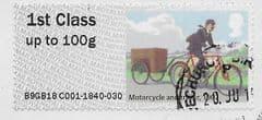 2018 1ST 'MAIL BY BIKE  - MOTORCYCLE /TRAILER 1902' (TYPE IIIa) FINE USED