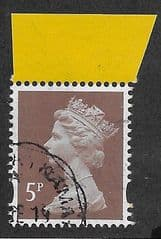 2018 5P  'RED BROWN'(M_IL M18L) MACHIN (EX R.A.F PRESTIGE BOOKLET PANE)  FINE USED