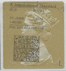 2018 A: INTERNATIONAL STANDARD (H4) TYPE 4 PRINTING ON GOLD TYPE 2 LABEL