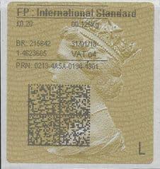 2018 FP:INTERNATIONAL STANDARD (04) TYPE 4 PRINTING ON GOLD TYPE 2 LABEL