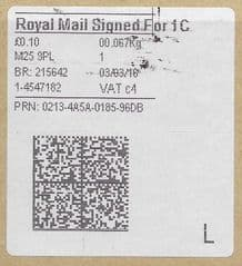 2018 'ROYAL MAIL SIGNED FOR 1C (C 4) ( NEW TYPE 4 PRINTING ON OLD WHITE LABEL)