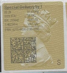2018 SPECIAL DELIVERY BY 1 (Y5) TYPE 4 PRINTING ON GOLD TYPE 2 LABEL