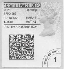 2019 1C SMALL PARCEL BFPO ( P 4) TYPE 4b HORIZON LABEL ( 2D BARCODED)