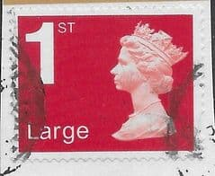 2020 1ST LARGE (S/A) 'ROYAL MAIL RED ' (NO CODES)  MACHIN FORGERY   FINE USED