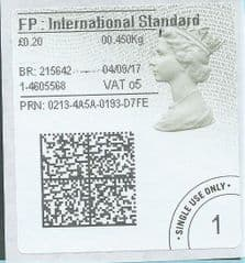 2020 FP: INTERNATIONAL STANDARD (o5) TYPE 4b HORIZON LABEL ( 2D BARCODED)  (GREY/ GREEN VARIATION)