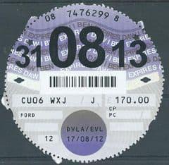 31-08-13  D.V.L.A TAX DISC ( 12 MONTHS) £170.00