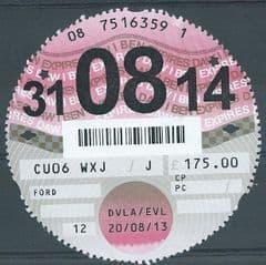 31-08-14  D.V.L.A TAX DISC ( 12 MONTHS) £175.00