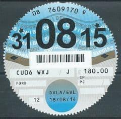 31-08-15  D.V.L.A TAX DISC ( 12 MONTHS) £180.00