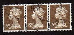 A STRIP OF 3 X £5.00 'BROWN'FINE USED.