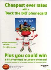A4 'BACK THE BID 2012' PHONECARD POSTER