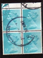BLK OF 4 X 1/2P 'TURQUOISE' (2 BANDS) FINE USED