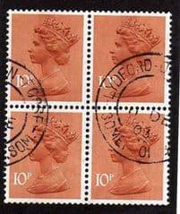 BLK OF 4 X 10P 'ORANGE BROWN'(CENTRE) FINE USED