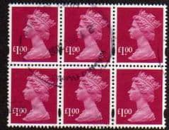 BLK OF 6 X £1.00 'RUBY' FINE USED