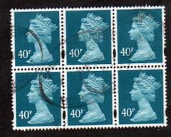 BLK OF 6 X 40P' TURQUOISE BLUE'  FINE USED