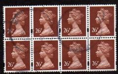BLK OF 8 X 26P 'RED BROWN' (2 BANDS)FINE USED