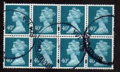 BLK OF 8 X 40P ' TURQUOISE BLUE' GOOD USED