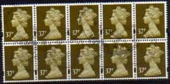BLOCK OF 10 X 37P 'BROWN OLIVE' FINE USED