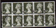 BLOCK OF 10 X 42P 'DP OLIVE GREY ' FINE USED