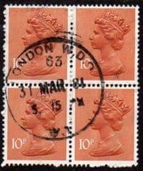 BLOCK OF 4 X 10P 'ORANGE BROWN (2b) (TYPE I) FINE USED