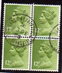 BLOCK OF 4 X 12P 'YELLOWISH GREEN' (PHOS)FINE USED