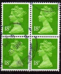BLOCK OF 4 X 18p 'BRIGHT GREEN'(CB)PHOTO FINE USED