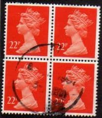 BLOCK OF 4 X 22P 'BR ORANGE RED ' FINE USED