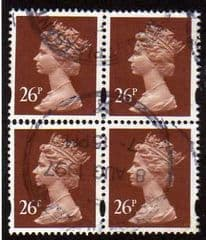 BLOCK OF 4 X 26P 'RED BROWN' (PHOTO) FINE USED