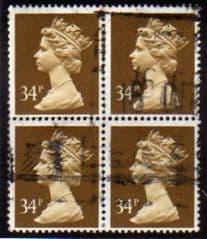 BLOCK OF 4 X 32P 'OCHRE BROWN'  PARCEL USED