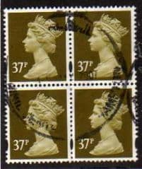 BLOCK OF 4 X 37P ' BROWN OLIVE' FINE USED