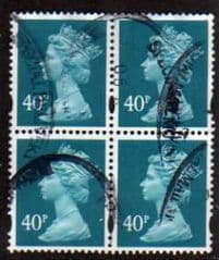 BLOCK OF 4 X 40P 'TURQUOISE BLUE' GOOD USED