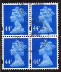 BLOCK OF 4 X 44P 'DEEP BRIGHT BLUE' FINE  USED