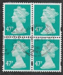 BLOCK OF 4 X 47P 'TURQUOISE GREEN' FINE USED