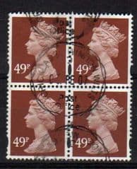 BLOCK OF 4 X 49P 'RED BROWN' FINE USED