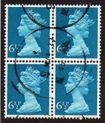 BLOCK OF 4 X 6.5P 'GREENISH BLUE'(CENTRE) FINE USED
