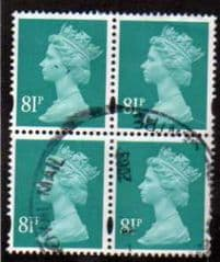 BLOCK OF 4 X 81P 'TURQUOISE GREEN' FINE  USED
