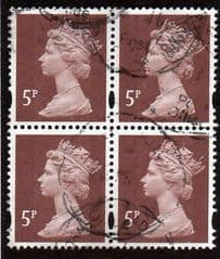 BLOCK OF 4 X5P DULL RED BROWN GOOD USED