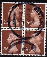 BLOCK OF 4X 26P 'RED BROWN' PHOTO GOOD USED