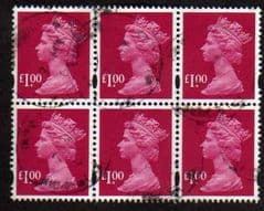 BLOCK OF 6 X £1.00 RUBY(2007) FINE USED