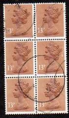BLOCK OF 6 X 13P 'PALE CHESTNUT(CB)'FINE USED