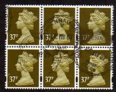 BLOCK OF 6 X 37P 'BROWN OLIVE' FINE USED