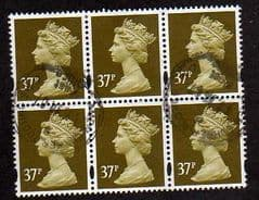 BLOCK OF 6 X 37P 'BROWN OLIVE' GOOD USED