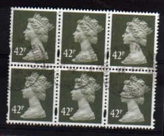 BLOCK OF 6 X 42P DP OLIVE GREY FINE USED