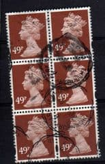 BLOCK OF 6 X 49P RED BROWN AVERAGE USED