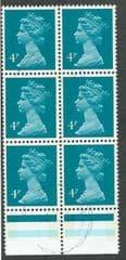BLOCK OF 6 X 4P 'GREENISH BLUE (1980)(LITHO) J.W PRINTING FINE USED