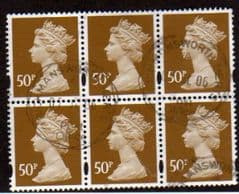 BLOCK OF 6 X 50P 'OCHRE BROWN'  FINE USED