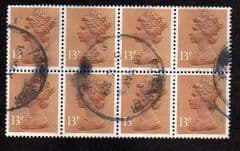 BLOCK OF 8 X 13P'PALE CHESTNUT(CB)'. FINE USED